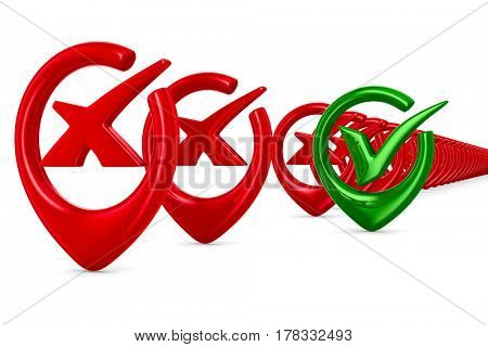 big positive symbol on white background. Isolated 3D image