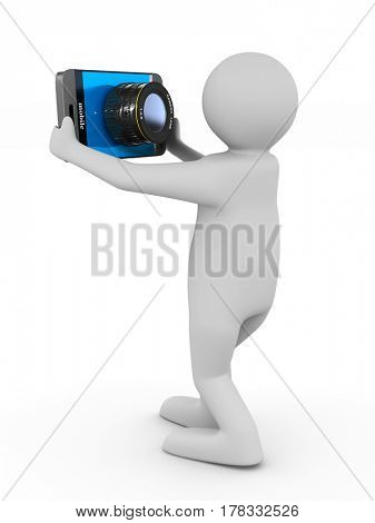 men does selfie on white background. Isolated 3D image