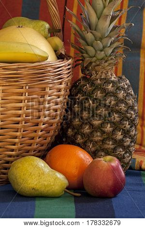 basket full fruit symbol of abundance and prosperity still-life