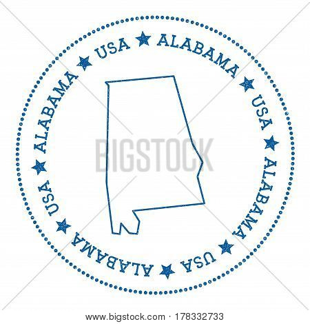 Alabama Vector Map Sticker. Hipster And Retro Style Badge With Alabama Map. Minimalistic Insignia Wi
