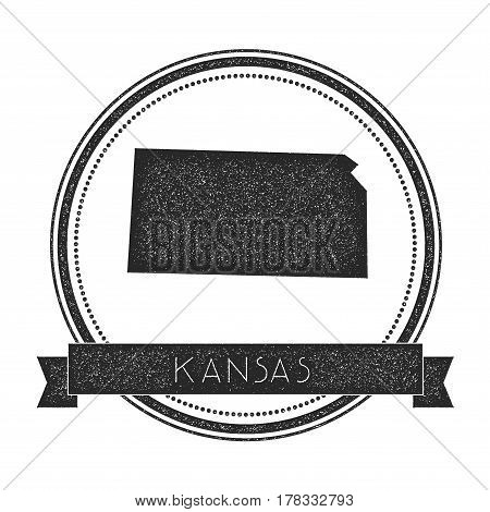 Kansas Vector Map Stamp. Retro Distressed Insignia With Us State Map. Hipster Round Rubber Stamp Wit