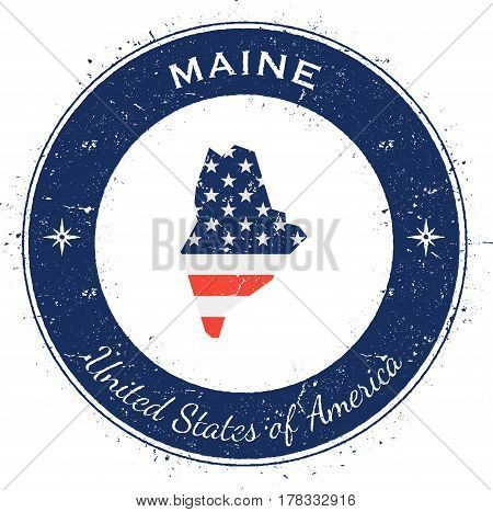 Maine Circular Patriotic Badge. Grunge Rubber Stamp With Usa State Flag, Map And The Maine Written A