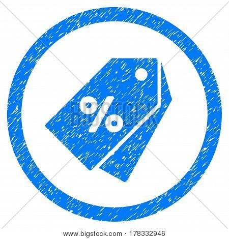 Percent Discount Tags grainy textured icon inside circle for overlay watermark stamps. Flat symbol with unclean texture. Circled vector blue rubber seal stamp with grunge design.