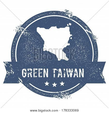 Green Island, Taiwan Logo Sign. Travel Rubber Stamp With The Name And Map Of Island, Vector Illustra