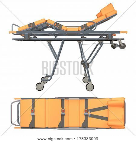 Trolley medic isolated on white. 3d rendering