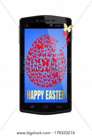Congratulations with Easter on the smartphone screen. Easter egg consists of flying butterflies. Easter design. Vector illustration