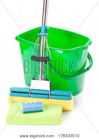 Green bucket, mop and sponge on a white background