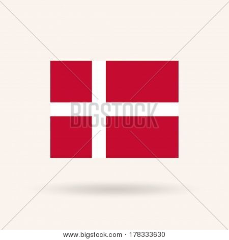 Flag of Denmark. Accurate dimensions, proportions and colors. Vector Illustration