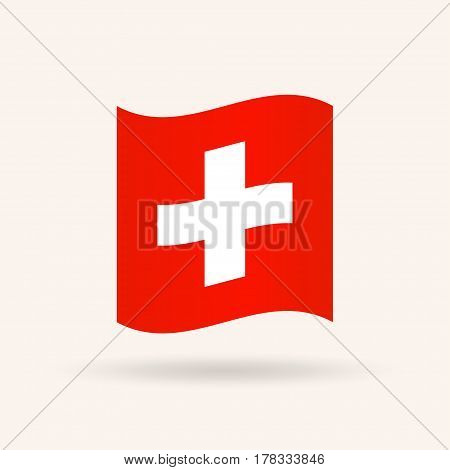 Flag of Switzerland. Accurate dimensions, proportions and colors. Vector Illustration