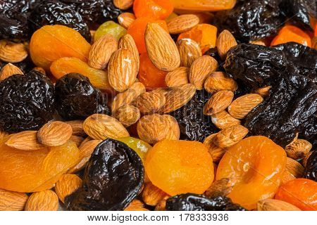 Prunes, Dried Apricots, Dried Mandarins And Almonds Close-up