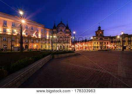 Freedom Square in Lodz Poland Europe after sunset.