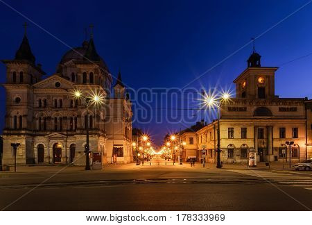 Freedom Square and Piotrkowska street in Lodz Poland Europe