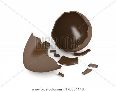 Broken chocolate egg on white background, 3D illustration
