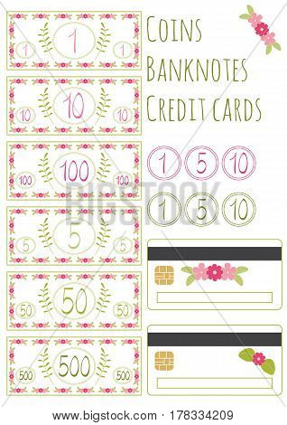 Isolated on white Set of floral vector banknotes, coins and credit cards for game. Money for playing shop, market, marketplace, supermarket. Requisite for cash, counter. Rustic design with flowers