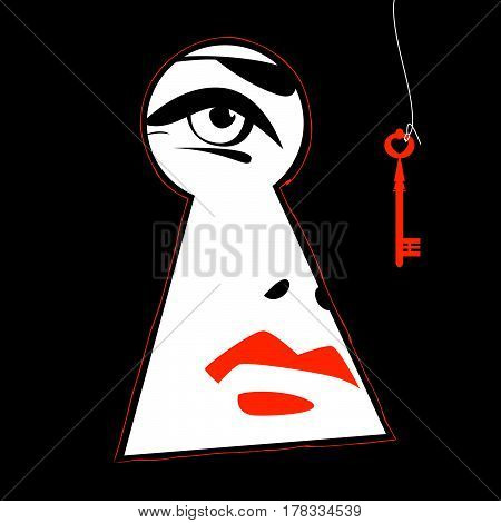 Woman looking through a keyhole. Vector illustration