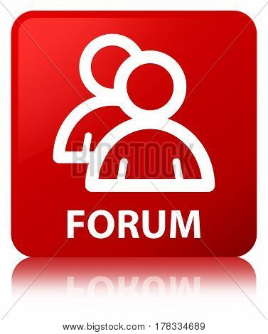 Forum (group Icon) Red Square Button