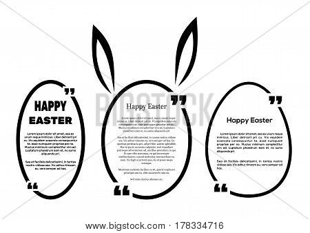 Set oval frames for Easter. Speech frame for text. Text quote frame. Vector illustration