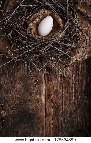 One big egg in the nest with spring branches on an old wooden table material bag