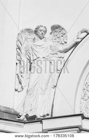 Fragment of Cathedral St. Catherine in Tsarskoye Selo at sunny day suburb of St.Petersburg Russia. Black and white.
