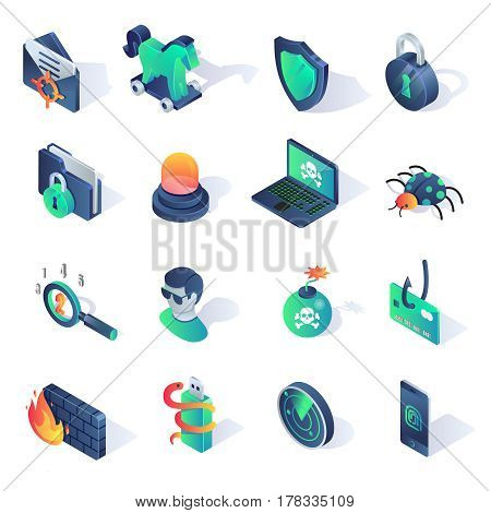 Cyber security isometric flat icons. Vector illustration