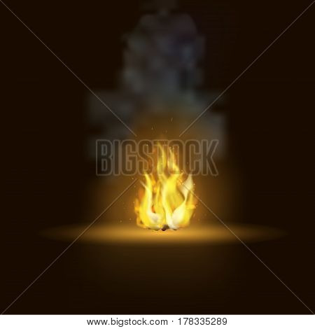 Vector realistic bonfire with smoke . Flame on a dark background.