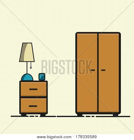 Vector Illustration Of Wooden Bedside Table With Lamp And Clock Beside Closet On Light Background