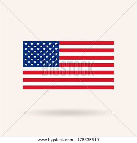Flag of the United States. Accurate dimensions, proportions and colors. Vector Illustration