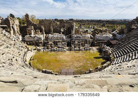 Restoration of 2nd Century AD Roman theater in Side, Turkey.