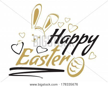 Happy Easter. Easter lettering. Greeting inscription with cute Easter bunny and Easter egg. Vector illustration isolated on white background