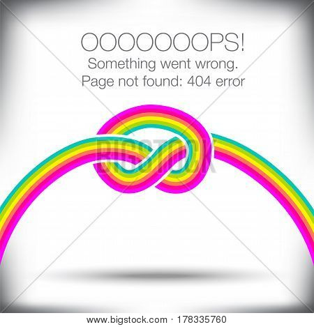 Unusual knotted rainbow - 404 error - page not found graphic with space for text