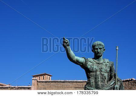 Statue of Julius Caesar Augustus in Rome Italy
