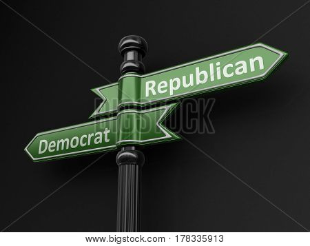 3D Illustration. Democrat and republican pointers on signpost. Image with clipping path