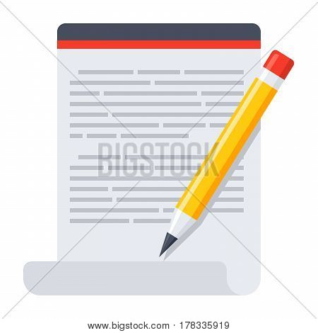 Blog icon with document and pencil, vector illustration in flat style