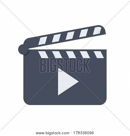 Black open clapperboard, vector illustration in flat style