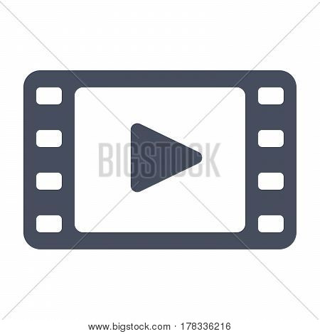 Film stock or video icon, black vector silhouette