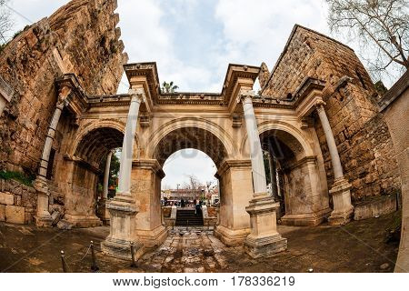 Historic Hadrian's Gate in old city of Antalya, Turkey.