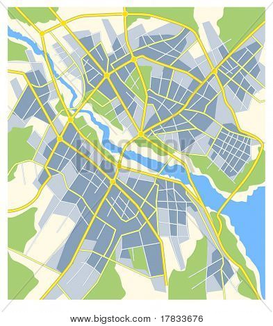 plan of abstract city map with roads and river poster