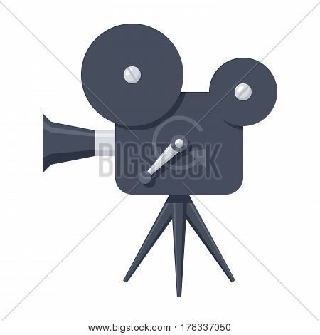 Movie camera icon, vector illustration in flat style