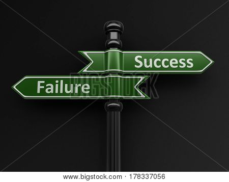 3D Illustration. Failure and Success pointers on signpost. Image with clipping path