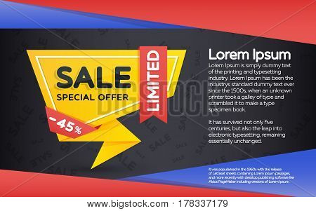 Sale banner template design. Sale and discount yellow banner on a dark background. Geometric shape with sharp angles. Vector illustration