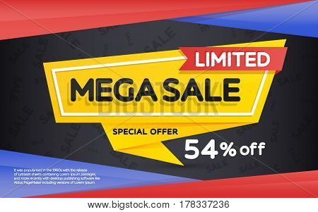 Sale and discount yellow banner on a dark background. Horizontal banner sale template design. Geometric shape with sharp angles. Vector illustration