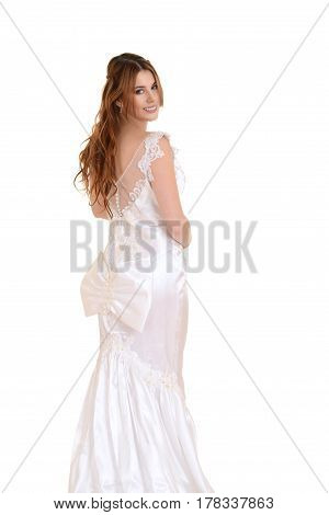bride with bow gown isolated on white background