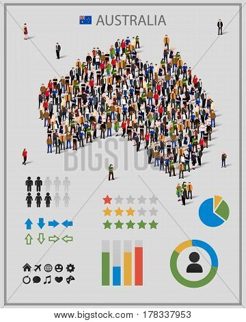 Large group of people in form of Australia map with infographics elements. Australia map with chart, statistic and visualization templates. Background for presentation.
