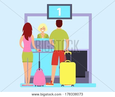 Tourists check in at the airport for an airplane. Vector illustration