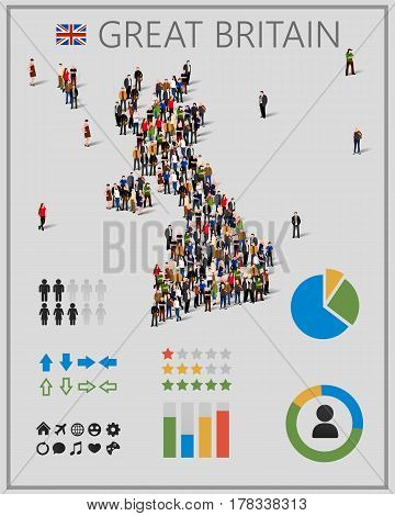 Large group of people in form of Great Britain map with infographics elements. United kingdom map with chart, statistic and visualization templates. Background for presentation. Vector illustration