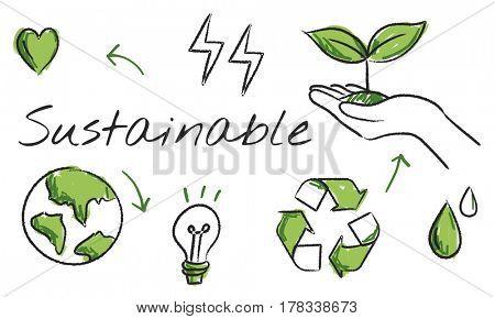 Environmental green icon diagram sketch