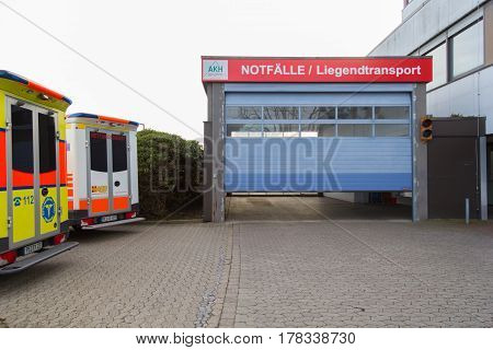 PEINE / GERMANY - MARCH 20 2017: two german ambulance vehicles stands on hospital at peine / germany