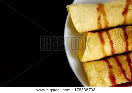 Photo of homemade pancakes made from tapioca flour eggs and coconut milk. Appropriate dessert for healthy diet.