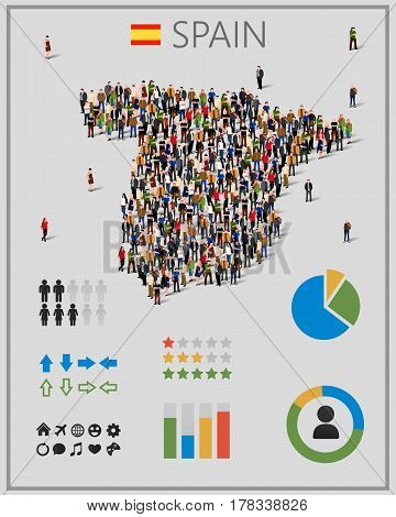 Large group of people in form of Spain map with infographics elements. Spain map with chart, statistic and visualization templates. Background for presentation. Vector illustration