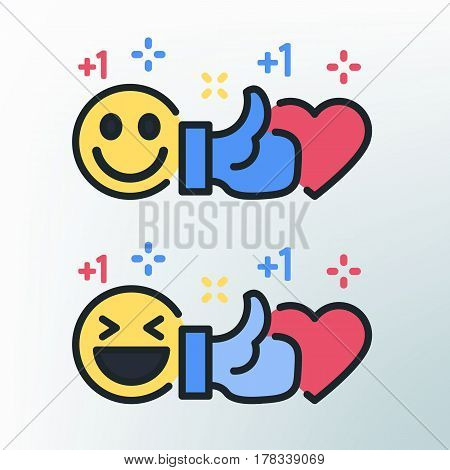 Smiley, thumb up and heart. Vector colored lines icons. Template for the holiday, sales and discounts. Social networks and social media template. Emoji vector illustration